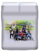 Jazz Band At Jackson Square Duvet Cover by Bill Cannon
