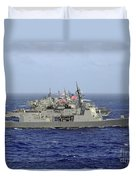 Jds Atago Sails In Formation With U.s Duvet Cover