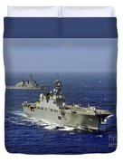 Jds Hyuga Sails In Formation With U.s Duvet Cover