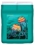 Jellyfish In Green Water Duvet Cover