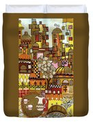 Jerusalem Alleys Tall 5  In Red Yellow Brown Orange Green And White Abstract Skyline Landscape   Duvet Cover