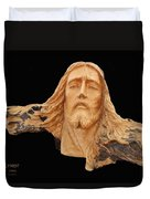 Jesus Christ Wooden Sculpture -  Four Duvet Cover