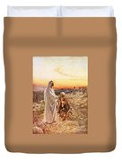 Jesus Withe The One Leper Who Returned To Give Thanks Duvet Cover