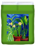 Jonquils And Bamboo Plant Duvet Cover