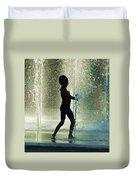 Joyful Child In The Water Fountain Duvet Cover