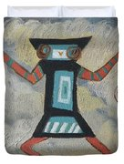K Is For Kachina Detail From Childhood Quilt Painting Duvet Cover