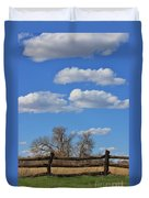 Kansas Country Wooden Fence With Blue Sky And Cloud's Duvet Cover