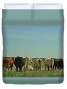 Kansas Cow's With There Backside's To You With Blue Sky And Grass Duvet Cover