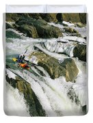 Kayaker At The Top Of A Waterfall Duvet Cover