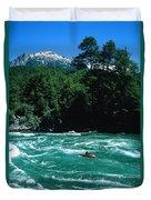 Kayaker Surfing Terminator Rapid Waves Duvet Cover