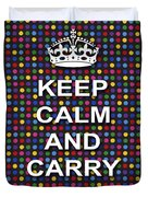 Keep Calm And Carry On Poster Print Blue Green Red Polka Dot Background Duvet Cover