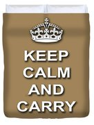 Keep Calm And Carry On Poster Print Brown Background Duvet Cover