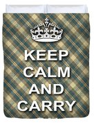 Keep Calm And Carry On Poster Print Green Brown Plaid Background Duvet Cover