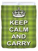 Keep Calm And Carry On Poster Print Green Plaid Background Duvet Cover