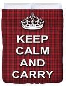 Keep Calm And Carry On Poster Print Red Black Stripes Background Duvet Cover