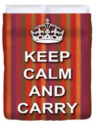 Keep Calm And Carry On Poster Print Red Purple Stripe Background Duvet Cover