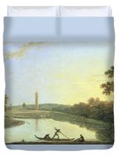 Kew Gardens - The Pagoda And Bridge Duvet Cover by Richard Wilson