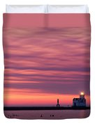 Kewaunee Lighthouse At Sunrise Duvet Cover