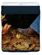 Kicking Fallen Autumn Leaves Duvet Cover by Oleksiy Maksymenko