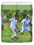 Kicking Soccer Ball Duvet Cover