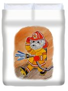 Kids Art Firedog Firefighter  Duvet Cover