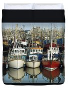 Kilkeel, Co Down, Ireland Rows Of Boats Duvet Cover