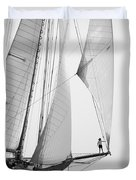 king of the world - a classic sailboat with all sails plying the sea on the island of Menorca Duvet Cover