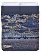 Kite Surfing At St Kilda Beach Duvet Cover by Douglas Barnard