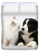 Kitten And Border Collie Pup Duvet Cover