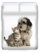 Kitten And Daxie-doodle Puppy Duvet Cover