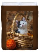 Kitten In Basket With Orange Yarn Duvet Cover