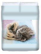 Kitten In Blanket Duvet Cover