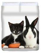 Kitten, Rabbit And Carrot Duvet Cover