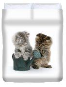 Kittens And Watering Can Duvet Cover
