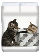 Kittens Playing With Box Duvet Cover