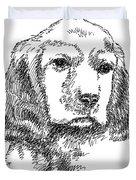 Labrador-portrait-drawing Duvet Cover