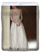 Lacy In Ecru Lace Gown Duvet Cover