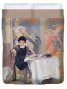 Lady At A Cafe Table  Duvet Cover