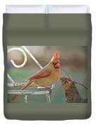 Lady Cardinal With Her Crown On Duvet Cover