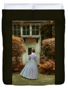 Lady In 19th Century Clothing By Conservatory Duvet Cover
