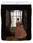 Lady In 19th Century Clothing Looking Out Window Duvet Cover