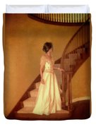 Lady In Lace Gown On Staircase Duvet Cover