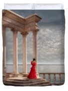 Lady In Red Gown By The Sea Duvet Cover