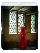 Lady In Tudor Gown Looking Out A Window Duvet Cover