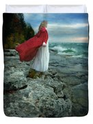 Lady In Vintage Clothing By The Sea Duvet Cover