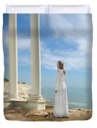 Lady In White By The Sea Duvet Cover