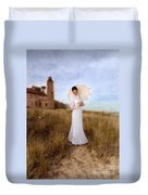 Lady In White With Parasol By The Sea Duvet Cover