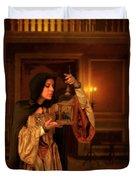 Lady Intudor Gown With Bird Duvet Cover by Jill Battaglia