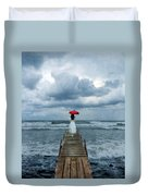 Lady On Dock In Storm Duvet Cover