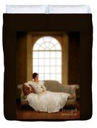 Lady Sitting On Sofa By Window Duvet Cover